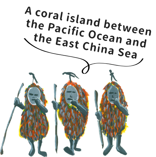 A coral island between the Pacific Ocean and the East China Sea